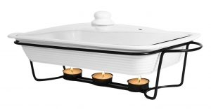 Le Regalo Stoneware Bake & Serve Food Warmer with Metal stand